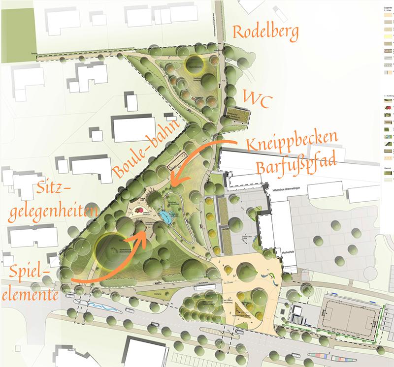 Plan der neuen grünen Mitte in Untermeitingen