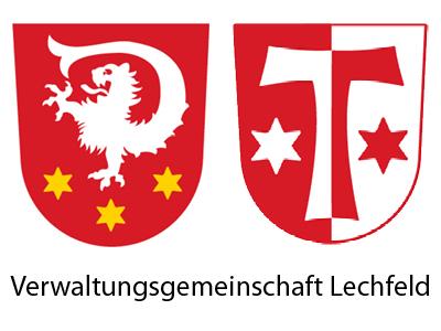 Die Wappen der beiden Gemeinden Untermeitingen und Klosterlechfeld.