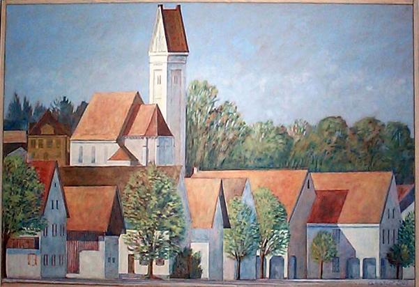 Gemälde vom Ort Obermeitingen.