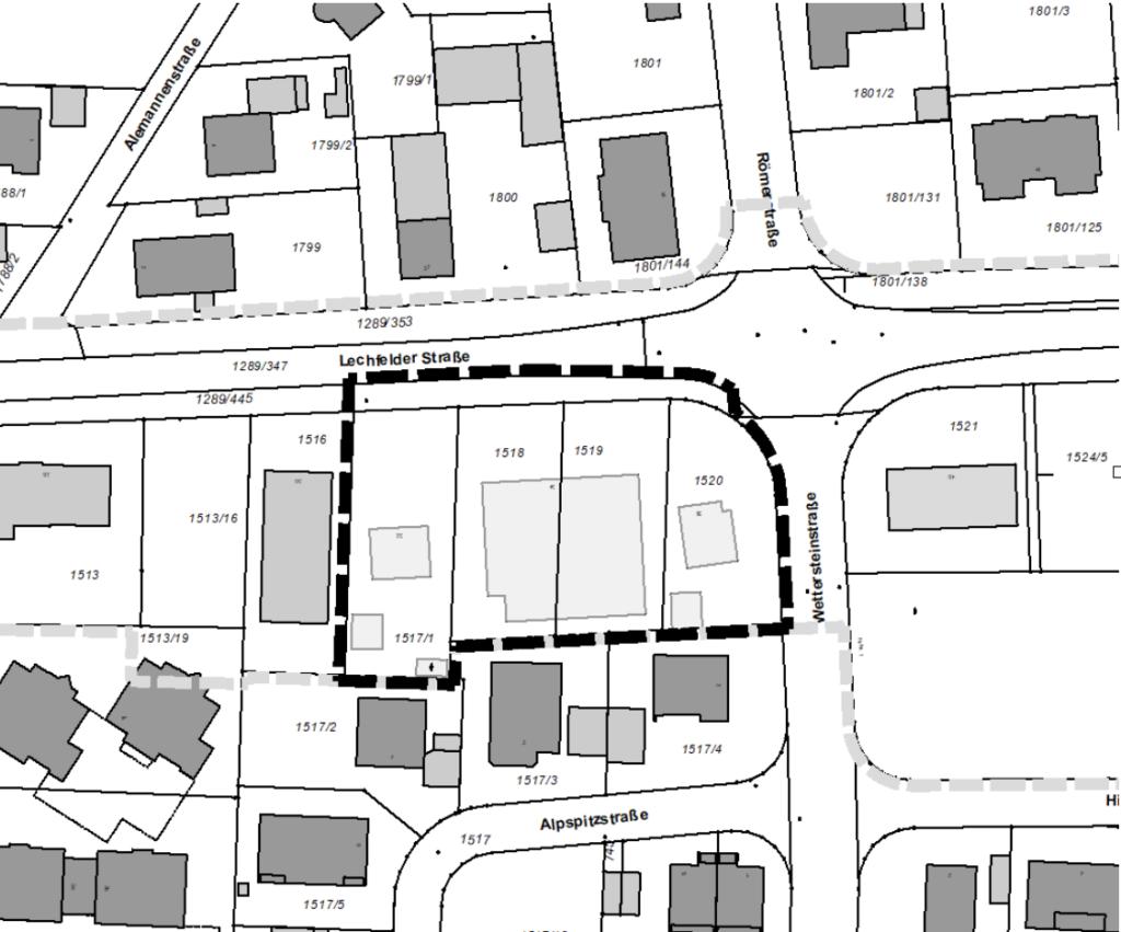 Geltungsbereich des Plangebietes in Untermeitingen